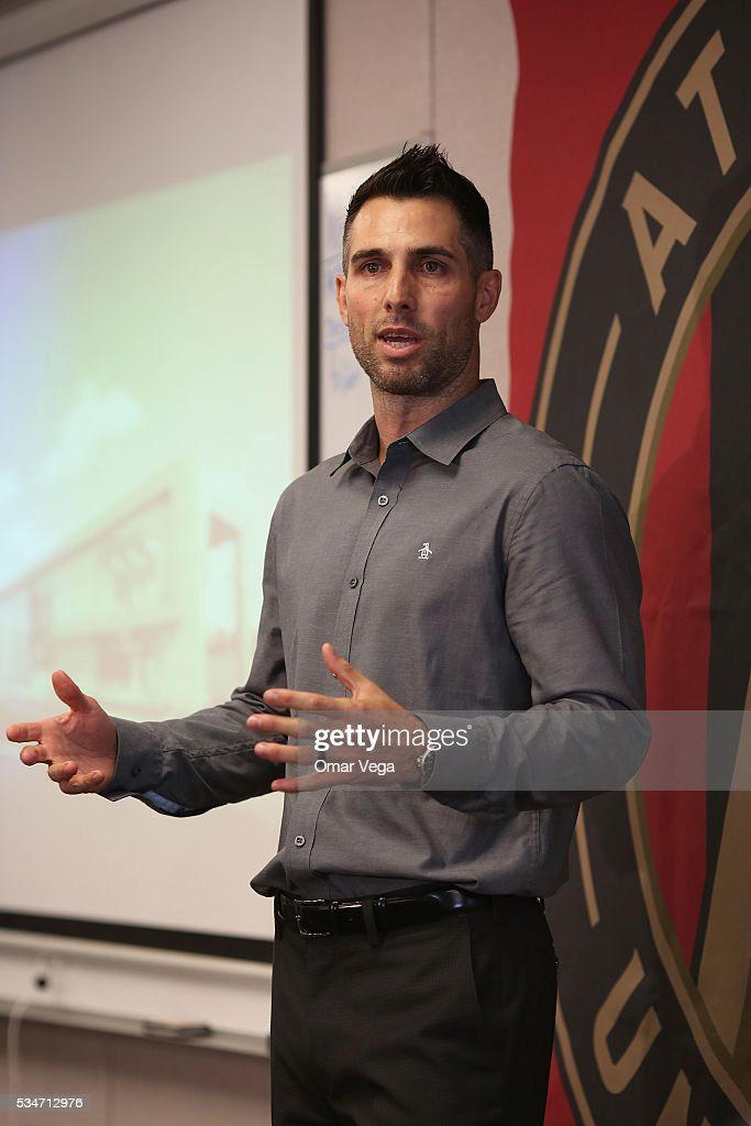 Former player <a gi-track='captionPersonalityLinkClicked' href=/galleries/search?phrase=Carlos+Bocanegra&family=editorial&specificpeople=207122 ng-click='$event.stopPropagation()'>Carlos Bocanegra</a> talks to attendants during a tour to present Mercedes Benz Stadium on May 27, 2016 in Atlanta, United States. Mercedes Benz Stadium is an under-construction retractable-roof, multi-purpose stadium in Atlanta, Georgia, that will serve as the home of the Atlanta Falcons of the National Football League (NFL) and Atlanta United FC of Major League Soccer (MLS). It is intended to replace the Georgia Dome, which has been the Falcons home stadium since 1992.