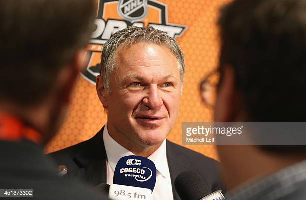 Former player Claude Lemieux speaks to the media on Day Two of the 2014 NHL Draft at the Wells Fargo Center on June 28 2014 in Philadelphia...