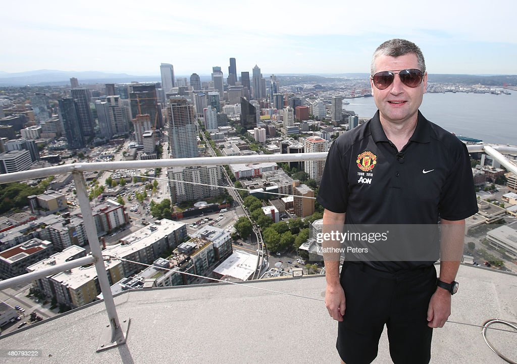 Former player <a gi-track='captionPersonalityLinkClicked' href=/galleries/search?phrase=Denis+Irwin&family=editorial&specificpeople=221637 ng-click='$event.stopPropagation()'>Denis Irwin</a> of Manchester United poses on top of the Space Needle as part of their pre-season tour of the USA on July 15, 2015 in Seattle, Washington.