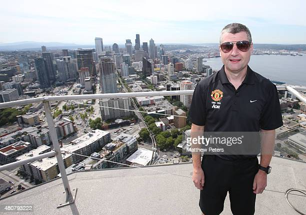 Former player Denis Irwin of Manchester United poses on top of the Space Needle as part of their preseason tour of the USA on July 15 2015 in Seattle...
