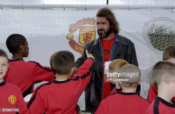 Former player Eric Cantona welcomes the young players at the new soccer schools 03 April 2004 at Disneyland resort in Paris Supporting by the most...