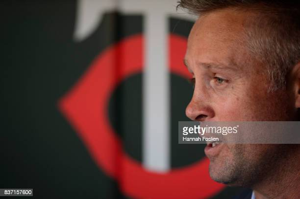 Former player for the Minnesota Twins Michael Cuddyer looks on before the game between the Minnesota Twins and the Arizona Diamondbacks on August 19...