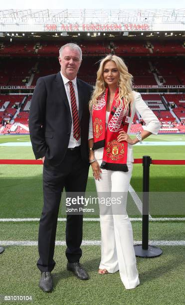 Former player Gary Pallister of Manchester United poses with World Cup Russia 2018 ambassador and former Miss Russia Victoria Lopyreva ahead of the...