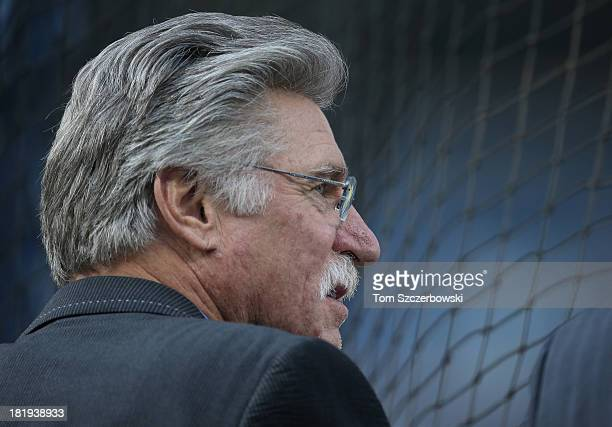 Former player Jack Morris watches batting practice before the Toronto Blue Jays MLB game against the New York Yankees on September 19 2013 at Rogers...