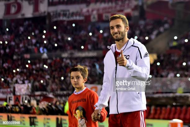 Former player of River Plate German Pezzella walks onto the field prior Fernando Cavenaghi's farewell match at Monumental Stadium on July 01 2017 in...