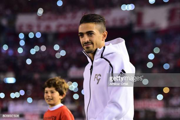 Former player of River Plater Manuel Lanzini walks onto the field prior Fernando Cavenaghi's farewell match at Monumental Stadium on July 01 2017 in...
