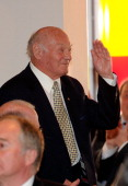 Former player of the 1954 Hungarian National Football team Jeno Buzansky smiles during the Horst Eckel's 80th birthday celebration at VIP Lounge at...
