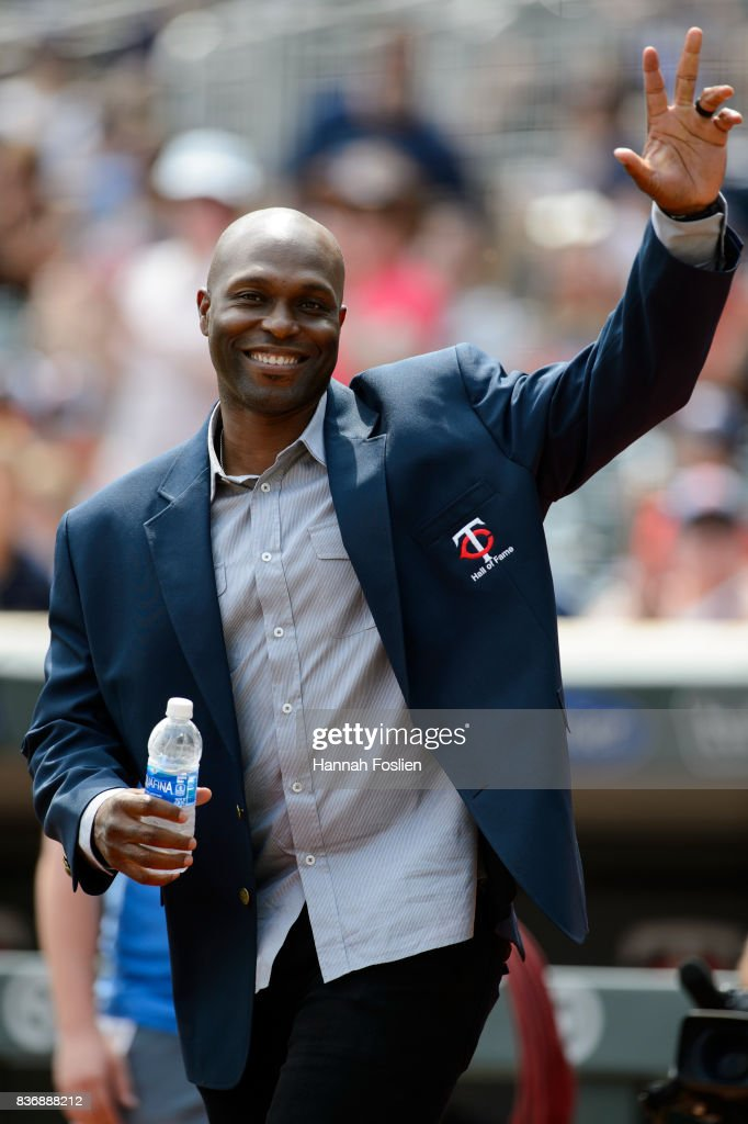 Former player Torii Hunter of the Minnesota Twins waves to the crowd before the game between the Minnesota Twins and the Arizona Diamondbacks on August 20, 2017 at Target Field in Minneapolis, Minnesota. The Twins defeated the Diamondbacks 12-5.