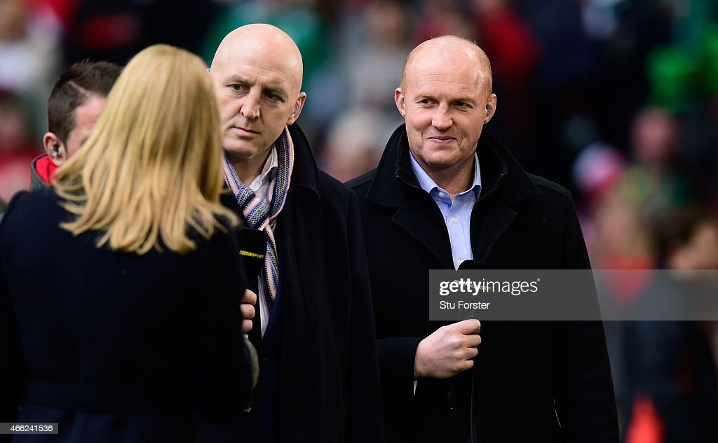Former players and commentators <a gi-track='captionPersonalityLinkClicked' href=/galleries/search?phrase=Keith+Wood&family=editorial&specificpeople=855185 ng-click='$event.stopPropagation()'>Keith Wood</a> (c) and <a gi-track='captionPersonalityLinkClicked' href=/galleries/search?phrase=Martyn+Williams&family=editorial&specificpeople=217818 ng-click='$event.stopPropagation()'>Martyn Williams</a> look on before the RBS Six Nations match between Wales and Ireland at Millennium Stadium on March 14, 2015 in Cardiff, Wales.
