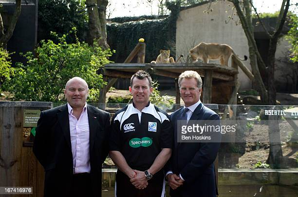 Former players Brian Moore and Michael Lynagh pose with referee Nigel Owens during a British and Irish Lions tour sponsor announcement at London Zoo...