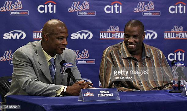 Former players Darryl Strawberry and Dwight Gooden speak during a press conference for their induction into the New York Mets Hall of Fame prior to...