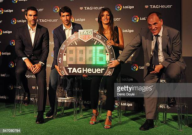 Former players Fernando Sanz and Raul Gonzalez are accompanied by Blanca Panzano Managing Director Spain of TAG Heuer and Javier Tebas President of...