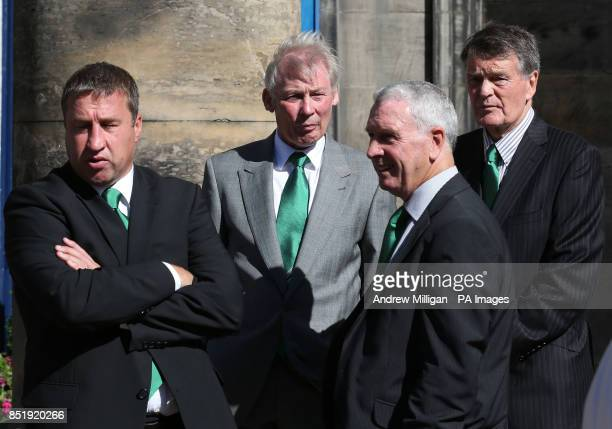 Former players Paul Kane Alex Cropley Eric Stevenson and John Fraser at the funeral of former Hibernian and Scotland football player Lawrie Reilly at...