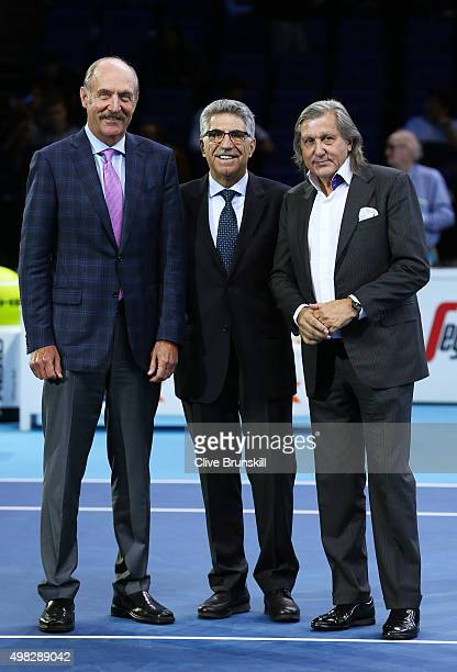 Former players Stan Smith Manuel Orantes and Ile Nastase pose during the ATP Finals Club presentation on day eight of the Barclays ATP World Tour...