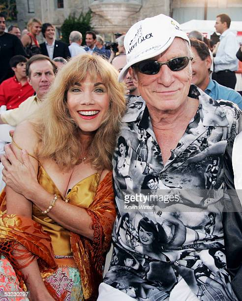 Former Playmate Barbie Benton and Playboy's Hugh Hefner pose at 'Fight for Victory' the 13th Annual Espy PreParty hosted by Andy Roddick at the...