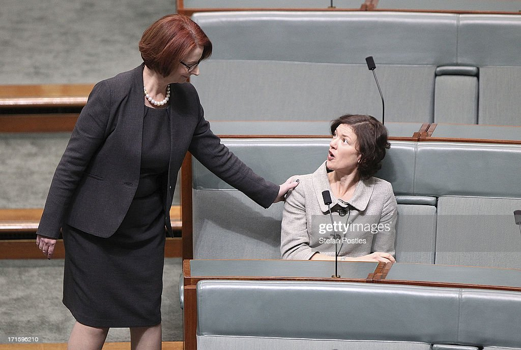 Former PM <a gi-track='captionPersonalityLinkClicked' href=/galleries/search?phrase=Julia+Gillard&family=editorial&specificpeople=787281 ng-click='$event.stopPropagation()'>Julia Gillard</a> (L) greets friend and MP, Kirsten Livermore in the House of Representatives on June 27, 2013 in Canberra, Australia. Kevin Rudd won an Australian Labor Party leadership ballot 57-45 last night, and will be sworn in this morning as Australian Prime Minister by Governor-General Quentin Bryce. Rudd was Prime Minister from 2007 to 2010 before he was dumped by his party for his deputy <a gi-track='captionPersonalityLinkClicked' href=/galleries/search?phrase=Julia+Gillard&family=editorial&specificpeople=787281 ng-click='$event.stopPropagation()'>Julia Gillard</a>. Gillard has announced that she will leave parliament and not contest her seat following her ballot loss.