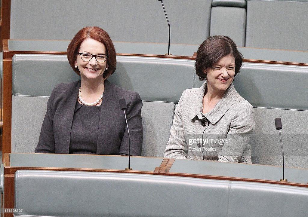 Former PM <a gi-track='captionPersonalityLinkClicked' href=/galleries/search?phrase=Julia+Gillard&family=editorial&specificpeople=787281 ng-click='$event.stopPropagation()'>Julia Gillard</a> (L) sits with friend and MP, Kirsten Livermore in the House of Representatives on June 27, 2013 in Canberra, Australia. Kevin Rudd won an Australian Labor Party leadership ballot 57-45 last night, and will be sworn in this morning as Australian Prime Minister by Governor-General Quentin Bryce. Rudd was Prime Minister from 2007 to 2010 before he was dumped by his party for his deputy <a gi-track='captionPersonalityLinkClicked' href=/galleries/search?phrase=Julia+Gillard&family=editorial&specificpeople=787281 ng-click='$event.stopPropagation()'>Julia Gillard</a>. Gillard has announced that she will leave parliament and not contest her seat following her ballot loss.