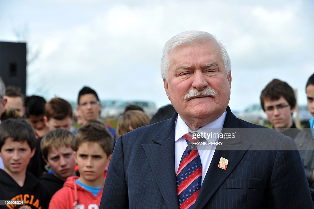 Former Poland president Lech Walesa attends the commemoration of the 220th anniversary of the outbreak of the royalist rebellion and counterrevolution in Vendee during the French Revolution, on April 18, 2013 in Lucs-sur-Boulogne.