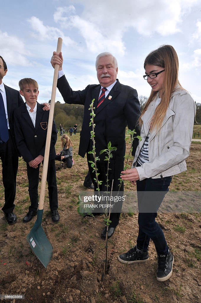Former Poland president Lech Walesa (C) plants a tree during the commemoration of the 220th anniversary of the outbreak of the royalist rebellion and counterrevolution in Vendee during the French Revolution, on April 18, 2013 in Lucs-sur-Boulogne. AFP PHOTO / FRANK PERRY