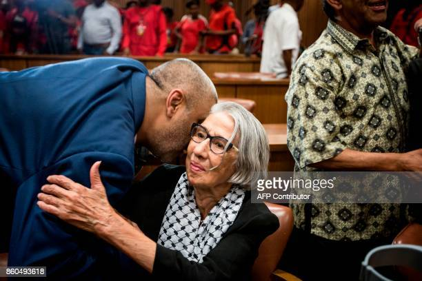 Former police detainee Khadija Chotia celebrates after the High Court judge ruled police murdered antiapartheid activist Ahmed Timol while in police...