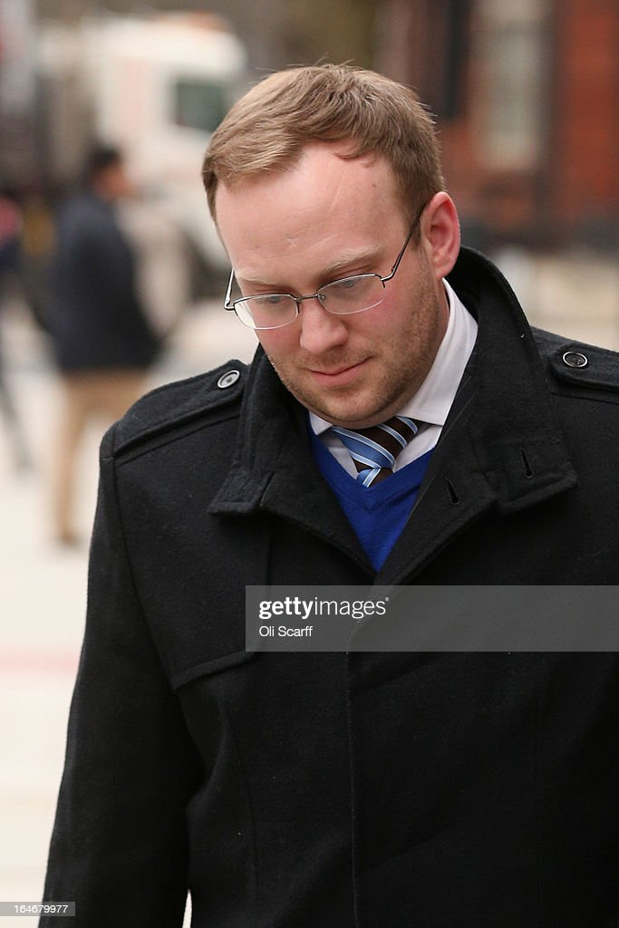 Former Police Sergeant James Bowes leaves Westminster Magistrates Court on March 26, 2013 in London, England. Geoff Webster, the deputy editor of the Sun newspaper, has been charged with allegedly authorising two payments, totaling 8,000 GBP, to public officials for information.