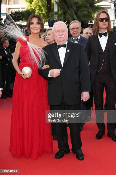 Former Polish President Lech Walesa and guest attend the 'The Meyerowitz Stories' screening during the 70th annual Cannes Film Festival at Palais des...