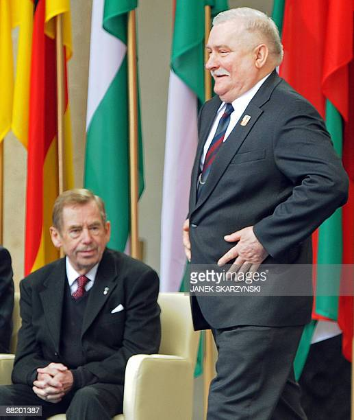 Former Polish President Lech Walesa the iconic Solidarity union leader prepares to give a speech during the ceremonies on June 4 2009 as former Czech...