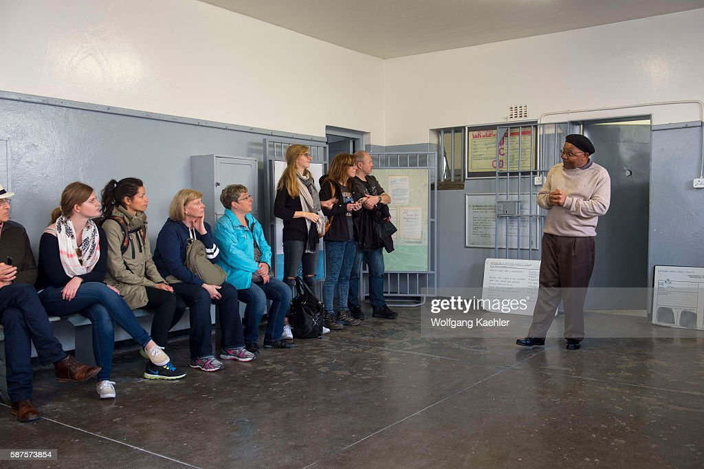 A former political prisoner giving tours for visitors at the prison on Robben Island which is an island in Table Bay 69 km west of the coast of Cape...
