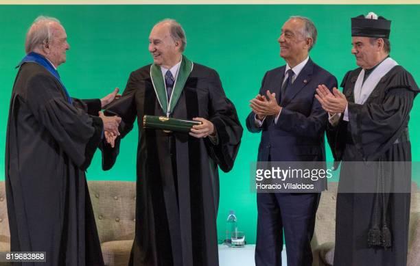 Former Portugal's Prime Minister Dr Francisco Pinto Balsemao congratulates His Highness Shah Karim alHussaini Prince Aga Khan after having received...