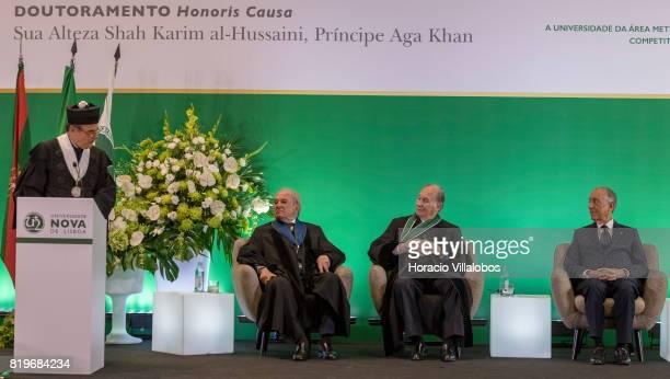 Former Portugal's Prime Minister Dr Francisco Pinto Balsemao His Highness Shah Karim alHussaini Prince Aga Khan and Portuguese President Marcelo...