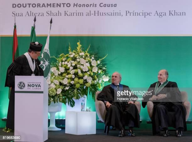 Former Portugal's Prime Minister Dr Francisco Pinto Balsemao patron for the nomination and His Highness Shah Karim alHussaini Prince Aga Khan listen...