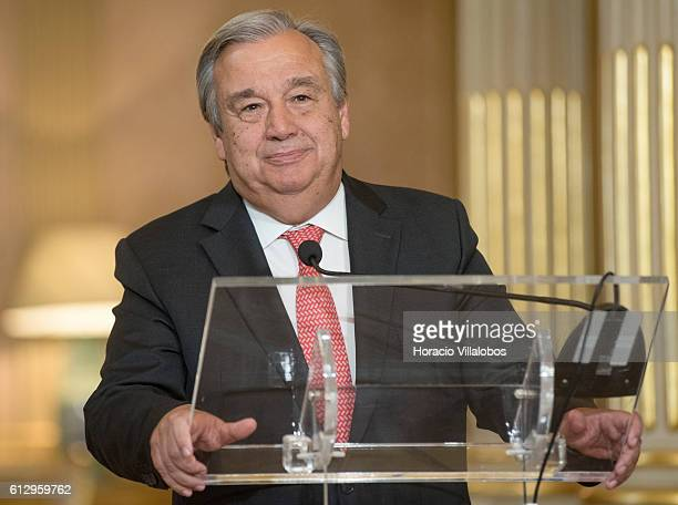 Former Portuguese Prime Minister Antonio Guterres formally nominated by the Security Council to be the next UN secretary delivers his first statement...