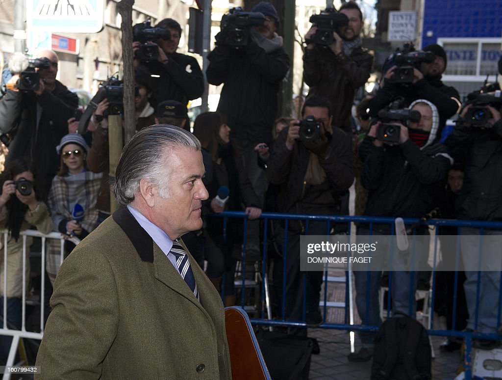 former PP (Popular Party)'s treasurer Luis Barcenas arrives at the anti-corruption prosecuting office in Madrid to be questionned about undeclared salaries's case on February 6, 2013. The centre-right newspaper El Mundo reported in January 2013 that senior Popular Party members collected undeclared salaries, mainly from private companies. Citing 'five reliable sources of successive management boards of the party', the newspaper said former Popular Party treasurer Luis Barcenas distributed envelopes containing 5,000-15,000 euros ($6,500 -20,000) to party officials on top of their official salaries during two decades.