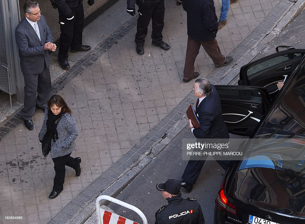 Former PP (Popular Party)'s treasurer Luis Barcenas arrives at the National Court in Madrid to be questioned over the origin of 22 million euros he amassed in a Swiss bank and which he allegedly concealed from the Spanish authorities, on February 25, 2013. Barcenas, who served for one year as the right-leaning party's treasurer and 19 as its assistant treasurer, is under investigation following reports that he had stashed up to 22 million euros (29 million USD) in Swiss bank accounts until 2009.