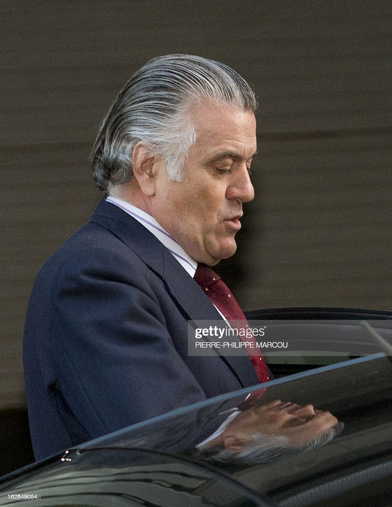 Former PP (Popular Party)'s treasurer Luis Barcenas leaves the National Court in Madrid, after being questioned about the origin of 22 million euros (29 million USD) he amassed in a Swiss bank account, an amount he reportedly concealed from Spanish tax authorities, on February 25, 2013. Barcenas, who served for one year as the right-leaning party's treasurer and 19 as its assistant treasurer, is under investigation following reports that he had stashed up to 22 million euros (29 million USD) in Swiss bank accounts until 2009.
