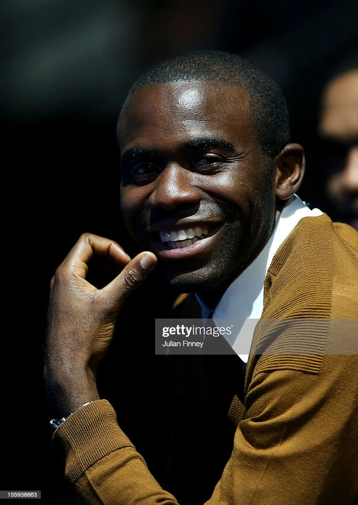 Former Premier League footballer <a gi-track='captionPersonalityLinkClicked' href=/galleries/search?phrase=Fabrice+Muamba&family=editorial&specificpeople=745514 ng-click='$event.stopPropagation()'>Fabrice Muamba</a> attends the men's singles match between Andy Murray of Great Britain and Jo-Wilfried Tsonga of France on day five of the ATP World Tour Finals at O2 Arena on November 9, 2012 in London, England.