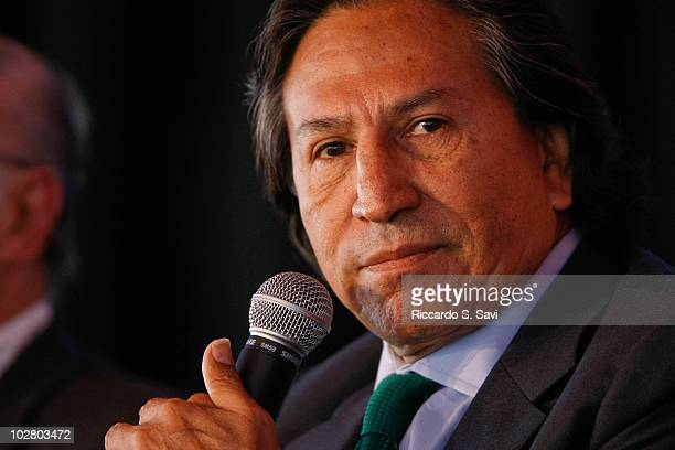Former President Alejandro Toledo attends 'Latin America A Look at Democracy' on day six of Aspen Ideas Festival 2010 on July 10 2010 in Aspen...
