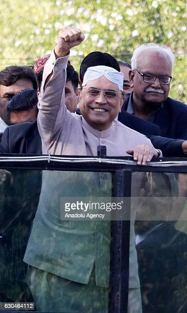 Former president and CoChairman of the Pakistan Peoples Party Asif Ali Zardari address to supporters after his return 18 months in selfimposed...