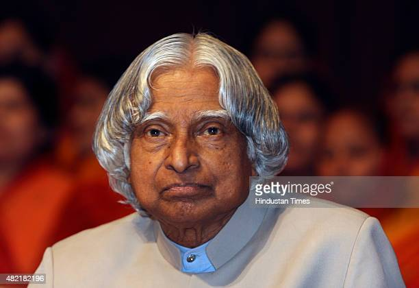 Former President APJ Abdul Kalam during the 91st birth anniversary of his holiness Archarya Mahapragya in New Delhi on June 15 2010 Avul Pakir...