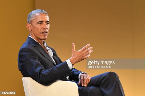 US former President Barack Obama delivers a speech during the third edition of 'Seed Chips The Global Food Innovation Summit' focussing on new...