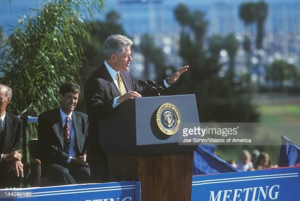 Former President Bill Clinton addresses crowd at a Santa Barbara City College campaign rally in 1996 Santa Barbara California