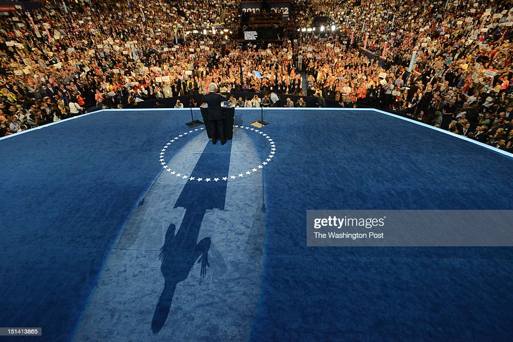 Former President Bill Clinton addresses the audience during the 2012 Democratic National Convention at the Time Warner Center on September 5 2012 in...