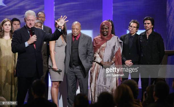 Former President Bill Clinton Alicia Keys Quincy Jones Chairperson of Save Somali Women and Children Asha Hagi Elmi Amin Ben Stiller and Juanes...