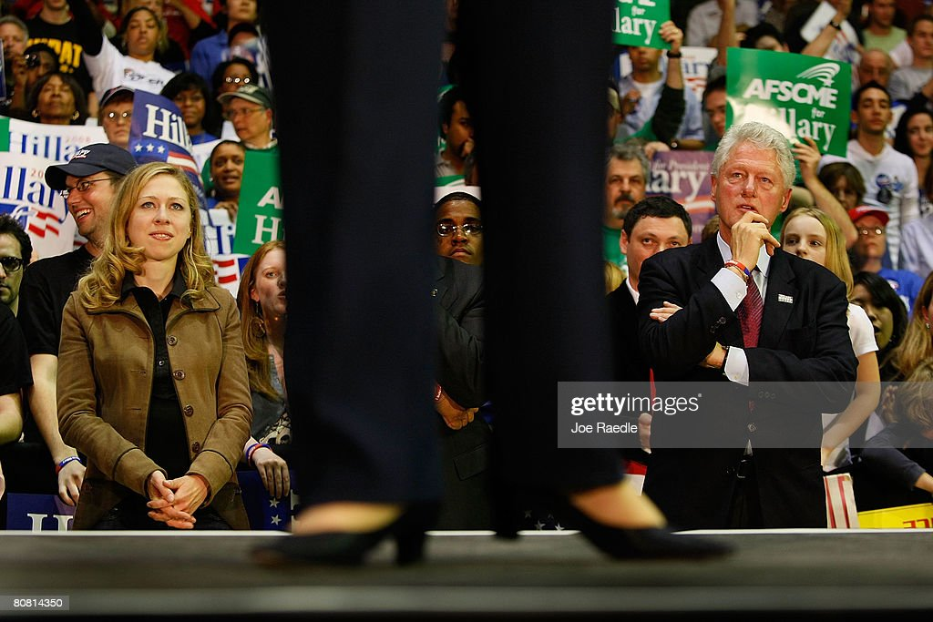Former President <a gi-track='captionPersonalityLinkClicked' href=/galleries/search?phrase=Bill+Clinton&family=editorial&specificpeople=67203 ng-click='$event.stopPropagation()'>Bill Clinton</a> and his daughter Chelsea Clinton watch as Democratic presidential hopeful Senator <a gi-track='captionPersonalityLinkClicked' href=/galleries/search?phrase=Hillary+Clinton&family=editorial&specificpeople=76480 ng-click='$event.stopPropagation()'>Hillary Clinton</a> (D-NY) speaks at University of Pennsylvania April 21, 2008 in Philadelphia, Pennsylvania. With one day to go until primary election day in Pennsylvania, Democratic hopefuls Sen. Barack Obama, (D-IL) and Clinton continue to make their points to voters.