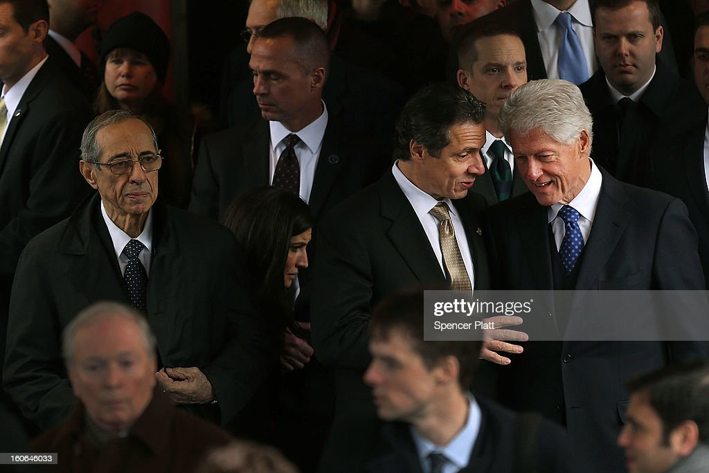 Former President Bill Clinton (R) and New York Gov. Andrew Cuomo (C) exit funeral services for former New York Mayor Ed Koch at Manhattan's Temple Emanu-El on February 4, 2013 in New York City.The iconic former New York mayor passed away on February 1, 2013 in New York City at age 88. Ed Koch was New York's 105th mayor and ran the city from 1978-89. He was often outspoken and combative and has been credited with rescuing the city from near-financial ruin during a three-term City Hall run. Former Governor Mario Cuomo is at left.