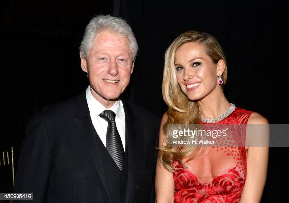 Former President Bill Clinton and Petra Nemcova attend the Happy Hearts Fund Gala with Chopard 10 year anniversary of the Indian Ocean tsunami...