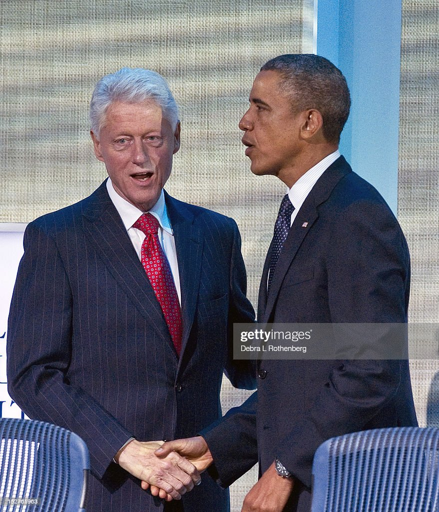 Former President <a gi-track='captionPersonalityLinkClicked' href=/galleries/search?phrase=Bill+Clinton&family=editorial&specificpeople=67203 ng-click='$event.stopPropagation()'>Bill Clinton</a> and President <a gi-track='captionPersonalityLinkClicked' href=/galleries/search?phrase=Barack+Obama&family=editorial&specificpeople=203260 ng-click='$event.stopPropagation()'>Barack Obama</a> attend the Clinton Global Initiative 2012 at the New York Sheraton Hotel & Tower on September 25, 2012 in New York City.