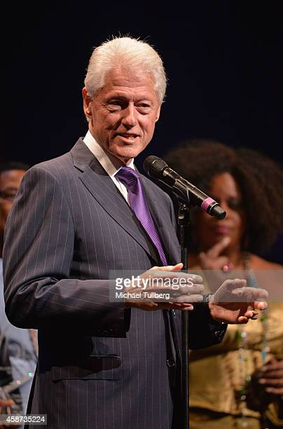 Former President Bill Clinton appears at the Thelonius Monk Jazz Trumpet Competition and All Star Gala Concert at Dolby Theatre on November 9 2014 in...