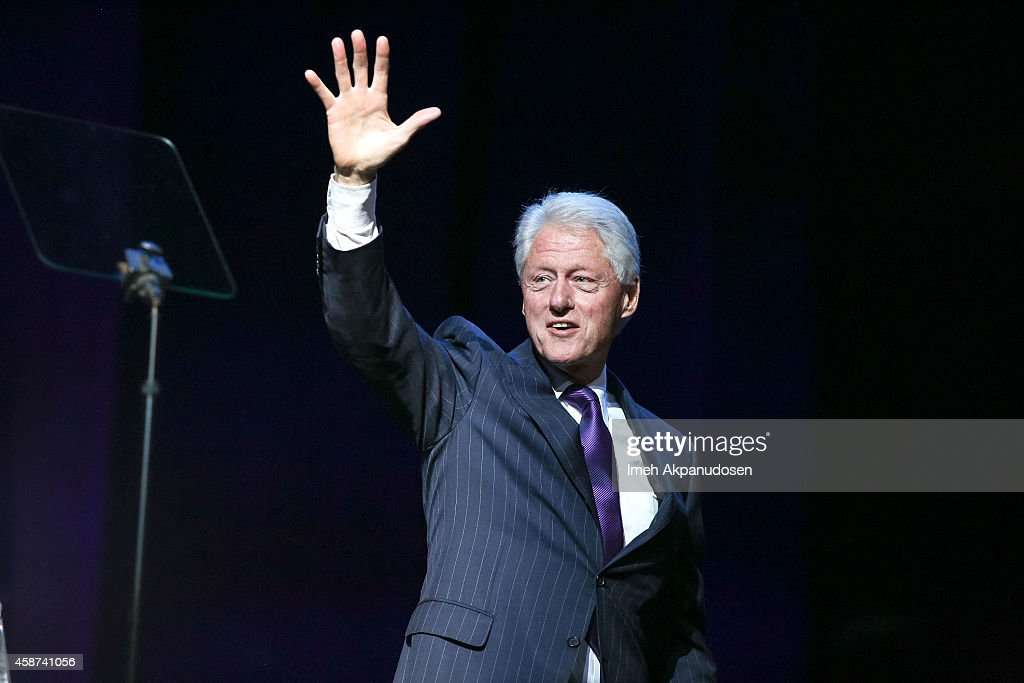 Former President <a gi-track='captionPersonalityLinkClicked' href=/galleries/search?phrase=Bill+Clinton&family=editorial&specificpeople=67203 ng-click='$event.stopPropagation()'>Bill Clinton</a> appears onstage at the 2014 Thelonious Monk International Jazz Trumpet Competition at Dolby Theatre on November 9, 2014 in Hollywood, California.
