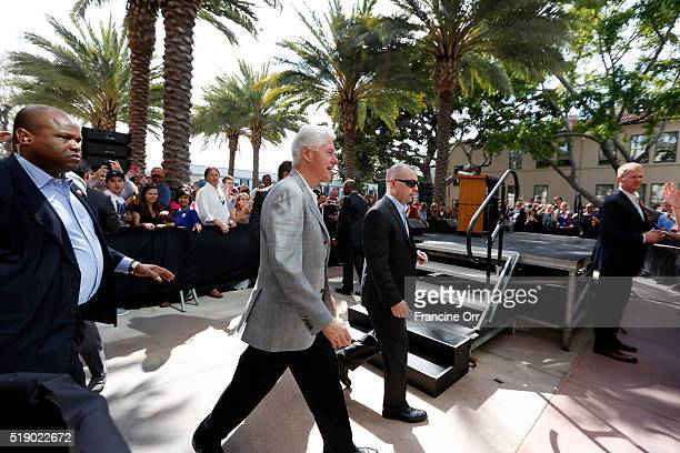 Former President Bill Clinton arrives to stump for Democratic presidential candidate Hillary Clinton at the Los Angeles Trade Technical College April...